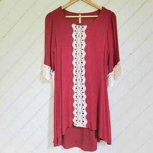 ••5-for-$25••ENTRO Crepe & Crochet Lace Dress